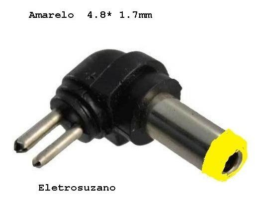 2 Conector Ponta Plug P/ Carregador Universal Amarelo 4,8mm