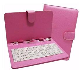 Capa Com Teclado Para Tablet 10 Polegadas Xjm-10 Rosa
