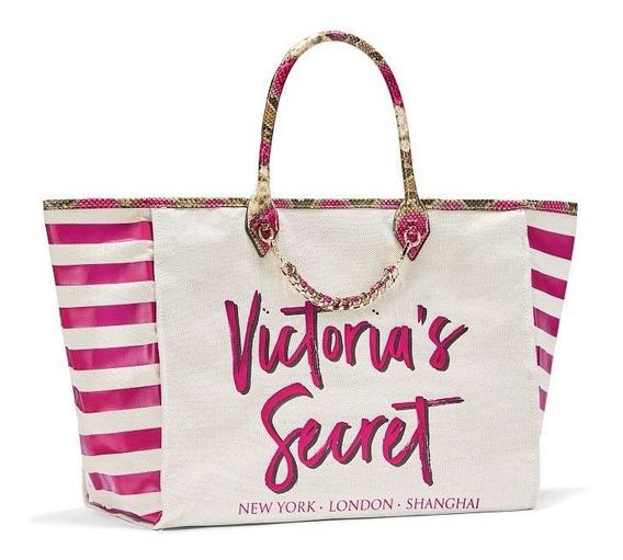 Bolsa Tote Victoria Secret Creme Com Rosa Dourado