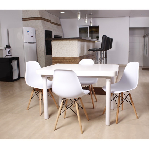 Kit Mesa De Jantar França 110x80 Branca + 04 Cadeiras Eiffel