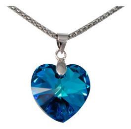 Collar De Swarovdski De Corazón Azul