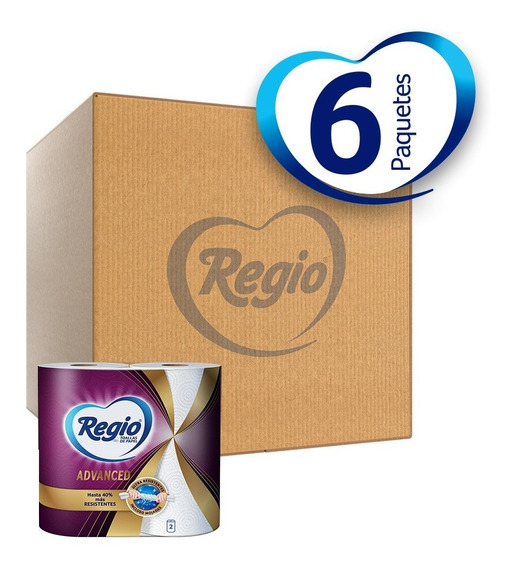 Caja Con 6 Toallas De Papel Regio Advanced 2 Rollos