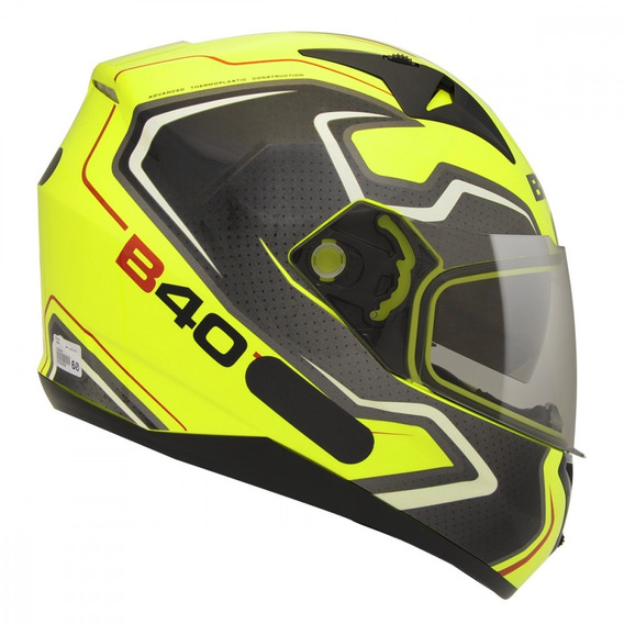 Capacete Moto Bieffe B-40 Tron Amarelo Limão Com Viseira Solar