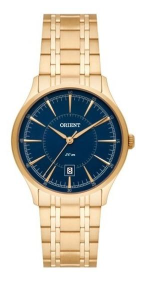 Relógio Orient Feminino Dourado Fdo Azul - 34772
