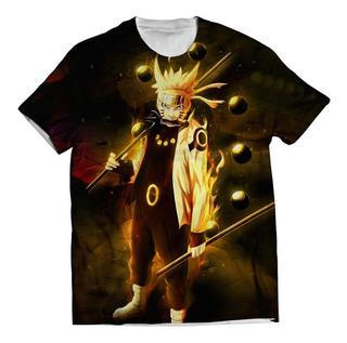 Camisa Camiseta Naruto Shippuden Naruto Sasuke Estampa Total