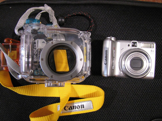 Camera Canon Powershot A570is & Case Wp-dc12 A Prova De Água