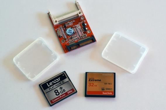 Combo Cartão Compact Flash Sandisk Extreme 32gb + Lexar 8gb