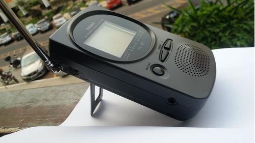 Mini Tv Casio Tv-480 De Bolso Analógica Ligando