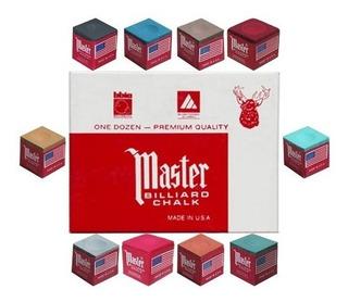 Tiza De Billar 10 Colores Masters Docena Y 6 Puntas