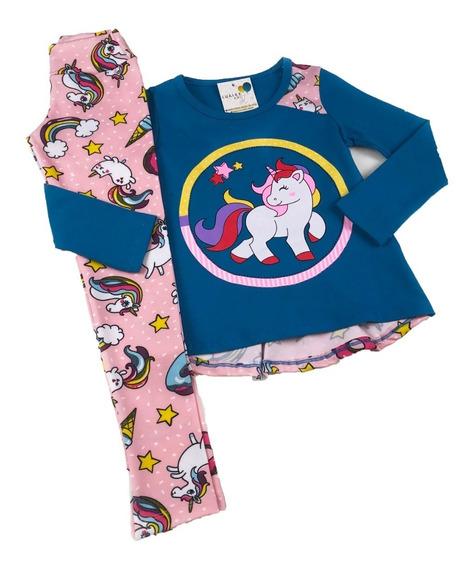 Conjunto Infantil Menina Inverno Blusa E Legging Unicórnio