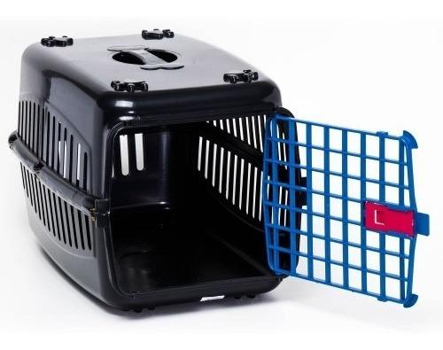 Caixa De Transporte Cachorro Gatos Preta Porta Azul N2