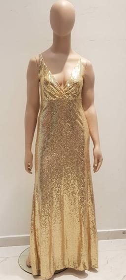 Vestido De Fiesta Dorado Sabah Desing