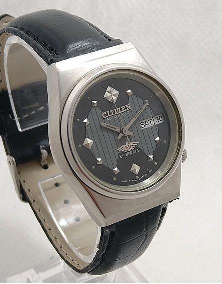 Relógio Citizen Automático Japonês Fundo Detalhe Linhas Vert
