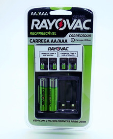 Carregador De Pilhas Rayovac Original+nota Fiscal 4 Pilhas