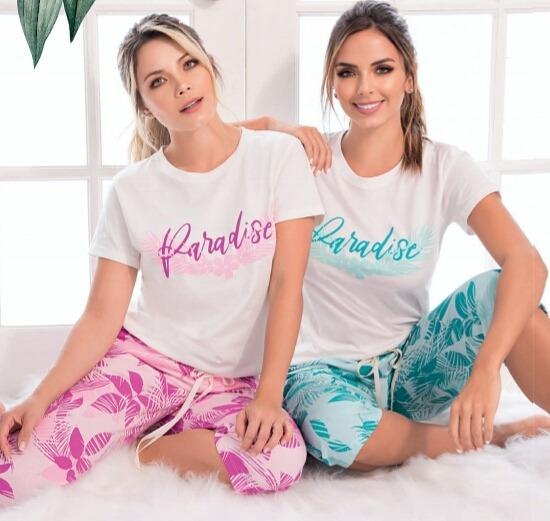 Pijama Paradise Mujer Flowers Juvenil Pantalón Capri X 1 Und