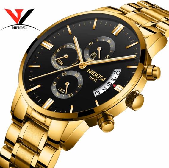 Relógio Masculino Nibosi Dourado Anti Risco