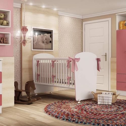 Berço Infantil 6900 Espresso Móveis Branco/rosa Gf