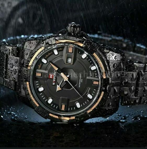 Relógio Masculino Original Naviforce Em Aço Resistente Água.