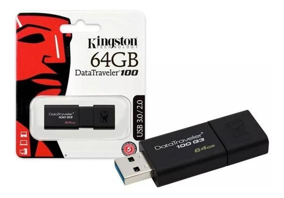 Pen Drive 64gb Kingston Dt100 3.0-2.0 Original Lacrado