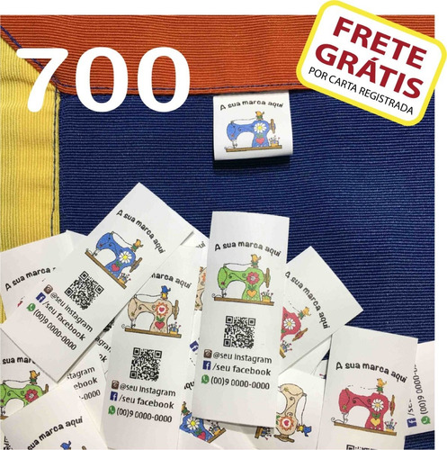 700 Etiquetas Personalizadas Nylon Resin P/ Roupa Artesanato