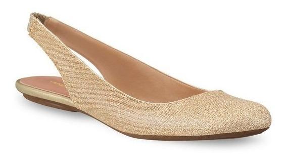 Zapatos De Piso Flats Andrea Dorados Con Brillos