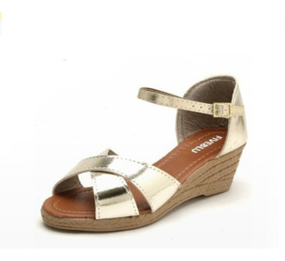 Sapato Sandalia Feminina Anabela Dourada Confortável