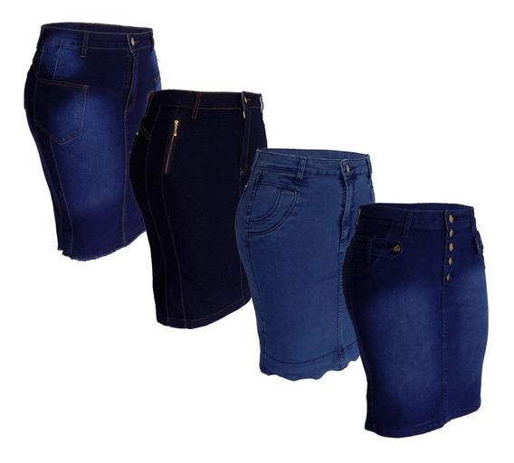 Saia Jeans Moda Evangélica Plus Size Kit C/4