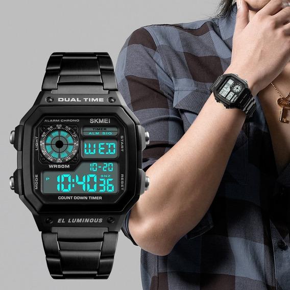 Relógio Digital Skmei 1335 Original Aço Inox Com Caixinha