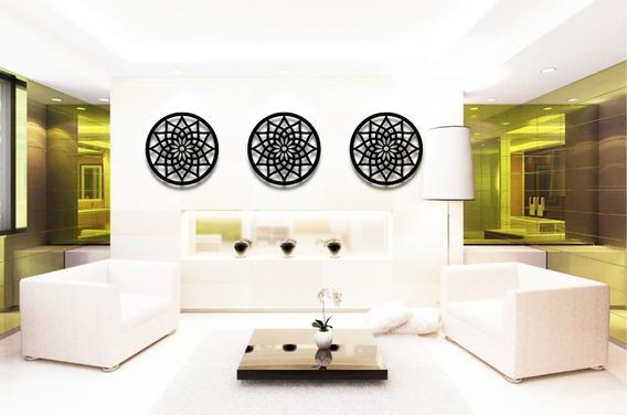 Trio Quadros Mandalas Decorativo 40 Cm Na Cor Preta + Brinde