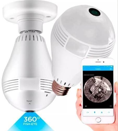 Lâmpada Espiã Câmera Ip Led 720p Wifi 360º V380 Segurança