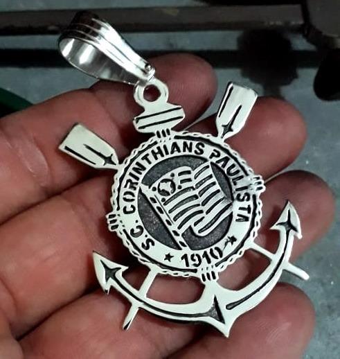 Pingente Em Prata 925 Do Corinthians 6cm X 4,4 Com Garantia