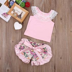 Conjunto Bebê Regata Rosa Com Short Floral