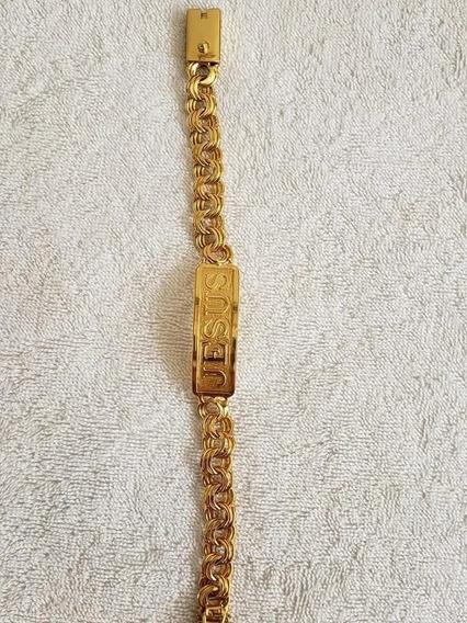 Pulseira Luxo Jesus Friso 12mm Banhado A Ouro 18k Masculino