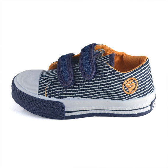 Zapatilla Rayas Azul Abrojo Small Shoes