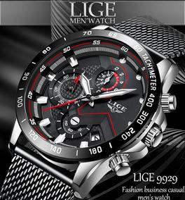 Relógio Masculino Lige: Luxo Calend. Cronógrafo Preto Prata