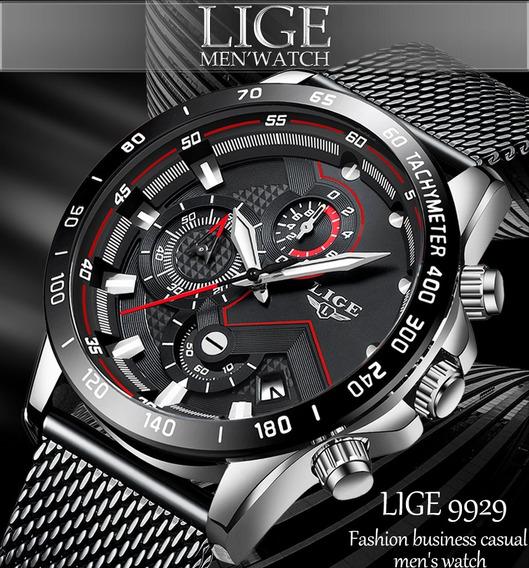 Relógio Masculino Lige 9929 Original Esporte Fino Luxo Com Cronógrafo Funcional E Calendário Automático Pronta Entrega