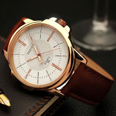 Relógio Yazole De Couro Marrom Original Elegante Vintage