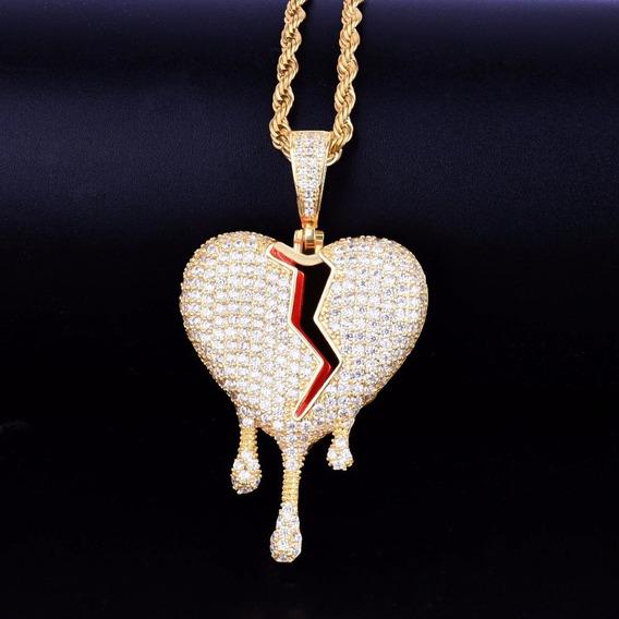 Colar Masculino Dourado Brilhante Coração Derretendo Trap