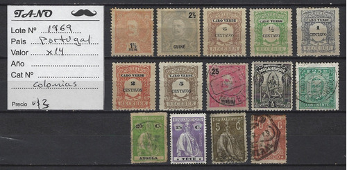 Lote1969 Portugal X14 Estampillas Colonias Antiguas