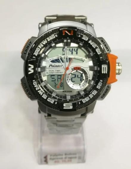 Relógio Masculino Aço Pointer Dual Time Com Luz