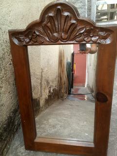 Espejo Grande Para Recamara Ó Baño En Pino Con Tallado.