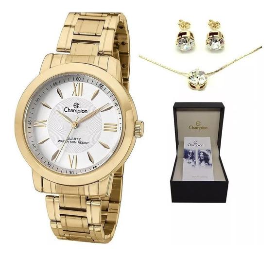 Relógio Champion Dourado Feminino Passion Ch24697h +conjunto