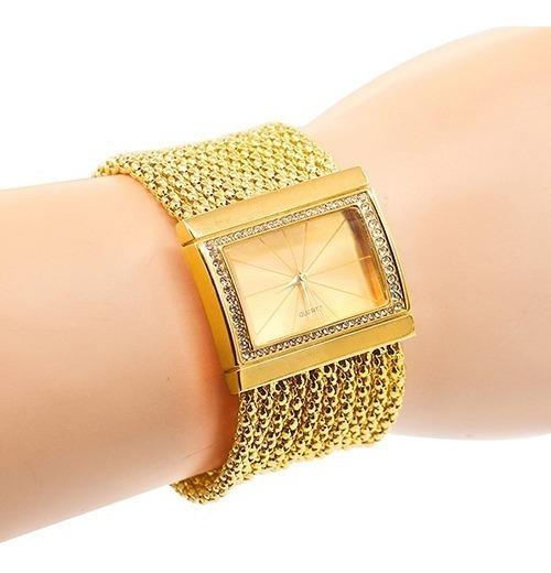 Relógio Feminino Bracelete Dourado.