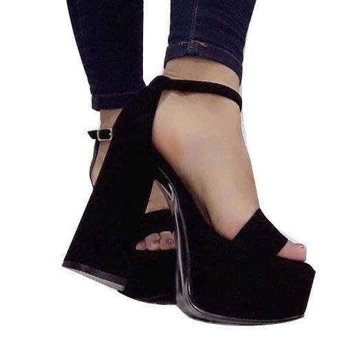 Zapatos Mujer Plataforma Sandalia Taco Palo Gamuza Art 952