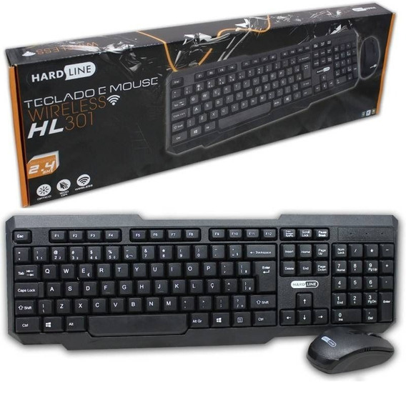 Kit Teclado Mouse S/fio Hardline Hl301 1.600dpi 2.4ghz