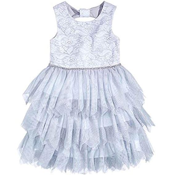 Marmellata Vestido De Falda Con Borde En Tul Girls Silver 5