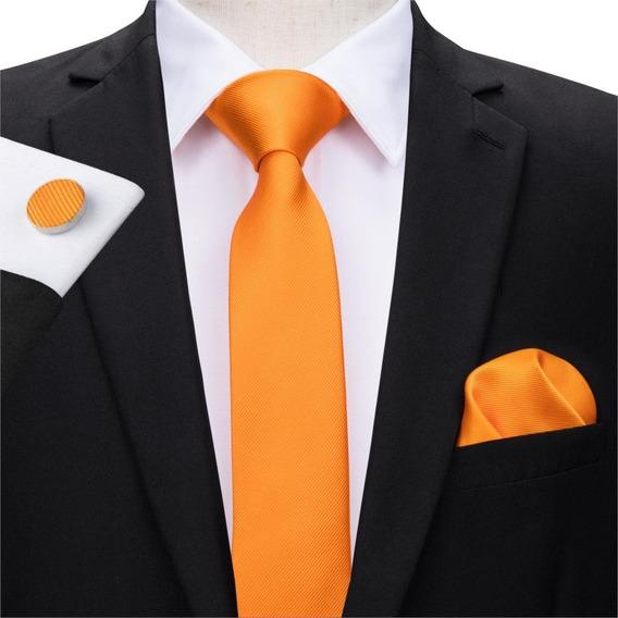 C3102 Seda | Corbata Pañuelo Mancuernillas | Slim Naranja