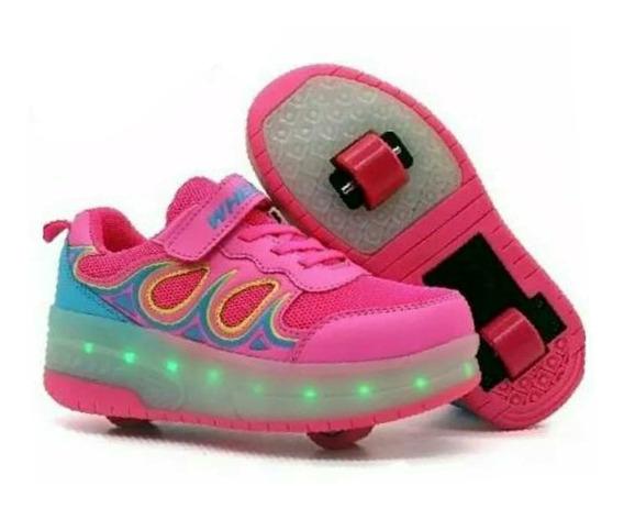 Zapato Patines Con Luces Led Recargables 1o2 Ruedas Ruedita