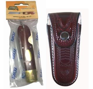 Canivete Zebu 637 Z2 Inox Cabo Madeira Com Bainha De Couro