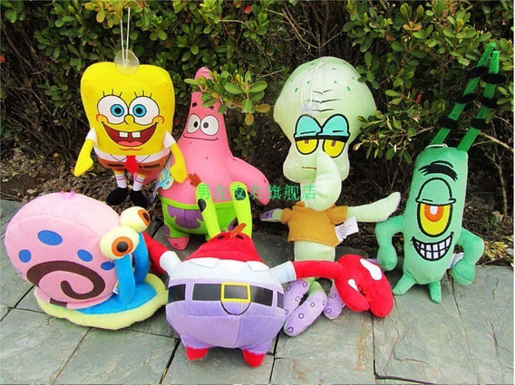 Kit De Pelúcia Da Turma Do Bob Esponja Com 6 Personagens